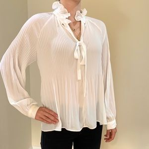 Anthropologie White Pleated Blouse
